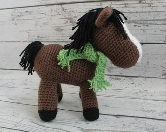 Brutus the Horse, Crochet Horse Stuffed Animal, Brown Horse Amigurumi, Plush Animal MADE TO ORDER
