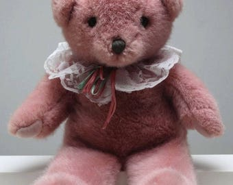 """Teddy Bear Dakin Pink with Lace Stuffed Animal Plush 1990 13"""" Tall"""