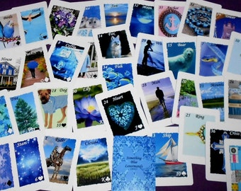 Something Blue Lenormand (White Border) Fortune Telling Oracle 36 Cards by Lynn Boyle