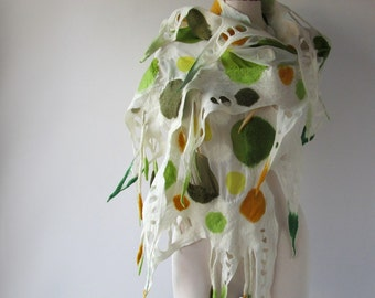 Nuno Felted scarf  Autumn scarf  Nuno felted shawl  Green White scarf Green polka dots   felted shawl by Galafilc gift for her outdoors gift