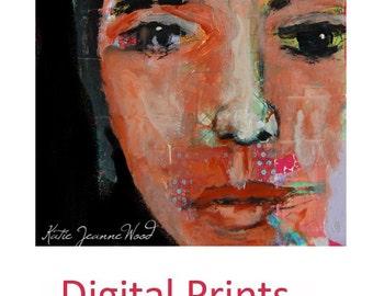 Young Woman Portrait Painting Print. Digital Art Prints. Portrait Wall Hanging. Home Wall Art Print. Living Room Decor. Apartment Print.
