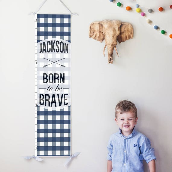 "Navy Plaid ""Born to be Brave"" canvas growth chart"