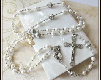 Girls Classic White Swarovski Pearl Sacramental Baptism Rosary, Catholic Gift for Christening
