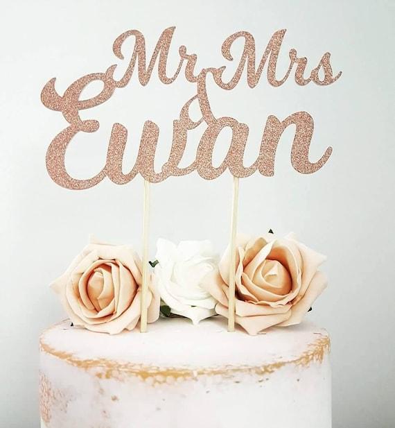 Rose gold cake topper personalised rose gold wedding cake