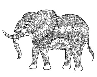 Elephant Zentangle digital colouring sheet