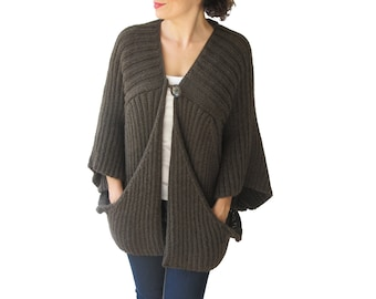 Brown Cardigan with Big Pockets by Afra Plus Size Over Size