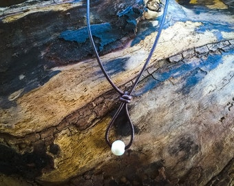 Leather and Pearl Hangmans Noose Necklace