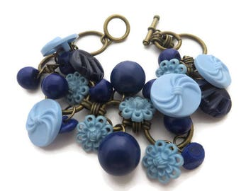 Button Jewelry, Blue Bracelet, Blue Button Bracelet, Brass Bracelet, Shades of Blue, Button Charm Bracelet, Vintage Buttons, Upcycled Button