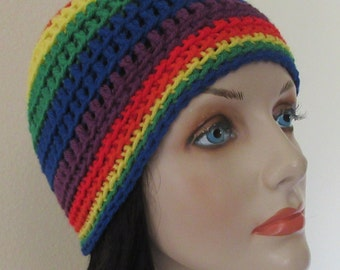 Rainbow Beanie,  Gay Pride Rainbow Beanie, Cold Weather Hat, Gorrita Tejida Del Arco Iris