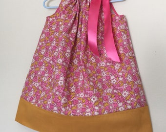 Girls size 2t pillowcase dress pink and golden bronze floral dress, summer dress, spring dress, Easter dress