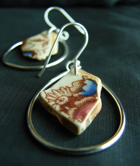 Sea Keeper sea pottery earrings in floral design