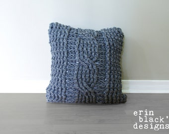 "DIY Crochet PATTERN - Chunky Cable Twist Crochet Pillow Cover Approximately 20"" x 20"" (pillow005)"