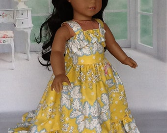18 inch doll ruffled sundress. Fits American Girl dolls. Butterfly Garden print.