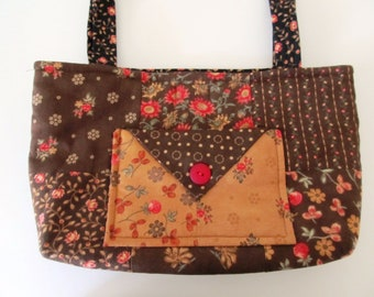 Quilted Fabric Handbag, Shoulder Bag, Purse, Brown, Tan, Black, Red, Green