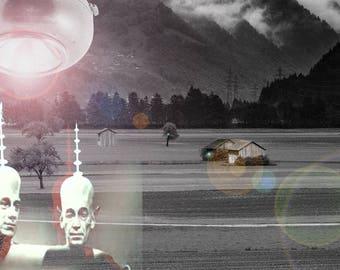 UFO Artwork Alien Invasion Poster Art Original Print Sc-Fi Fantasy Outer Space Artwork