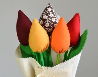 Office decor for women/Fabric flowers/ Flower bouquet/ Fabric bouquet.