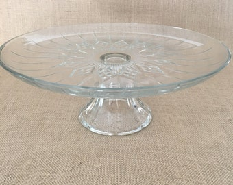 Vintage Clear Glass Diamond Pattern Pedestal Cake Stand
