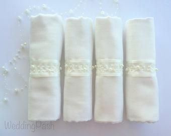 SET of 4 Ivory Wedding Pashmina decorated with organza ribbon. Bridesmaid wraps. Scarfs