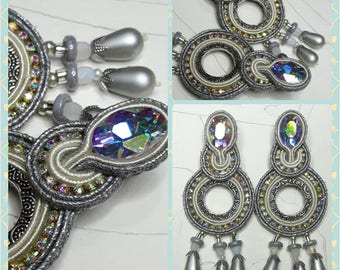 Soutache Glassy Ice earrings with crystals and rhinestones/Teardrop Earrings with silver circle