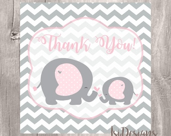 Printable Elephant Baby Shower Favor Tags, Pink and Grey, Elephant Baby Shower Thank You Tags, Instant Download, Printable Tags
