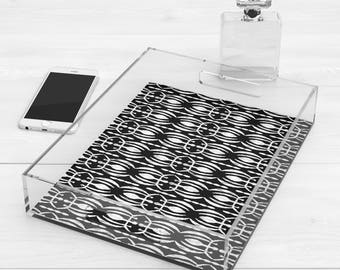 Tribal Print Lucite Acrylic Tray, Black and White Tray / Black and White Tribal Print Ottoman Tray / Coffee Table Tray