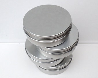 100ml Metal Tins, Blank Round Silver Color, Screw Lidded, Aluminium Tins (A Set Of 100 Tins)