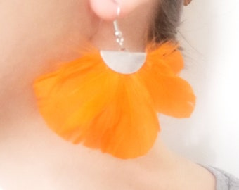 Orange feather fan earrings