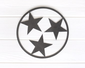 Tennessee Tri-Star Outline State Metal Art - Small     volunteer rustic decor