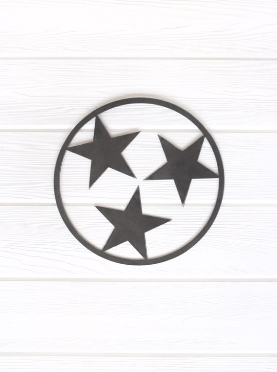Tennessee Tri Star Outline State Metal Art Small