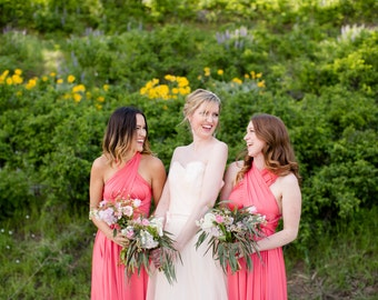 Coral Infinity Convertible Bridesmaid Dress
