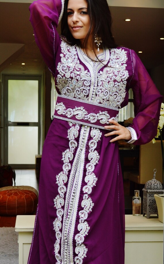 Moroccan Modern Purple with White Embroidery Caftan Kafan-Amelia-moroccan parties, weddings,abbayas, honeymoon, birthday, anniversary gift