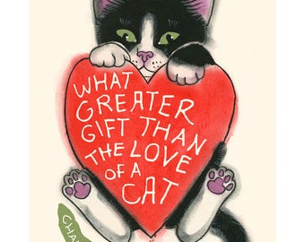 "Typography Cat illustration - Cat print -  What Greater Gift - Charles Dickens 4"" X 6"" print - 4 for 3 sale"