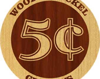 Custom Laser Engraved Wooden Nickel Swag 50 Pack with 2 Sided Design