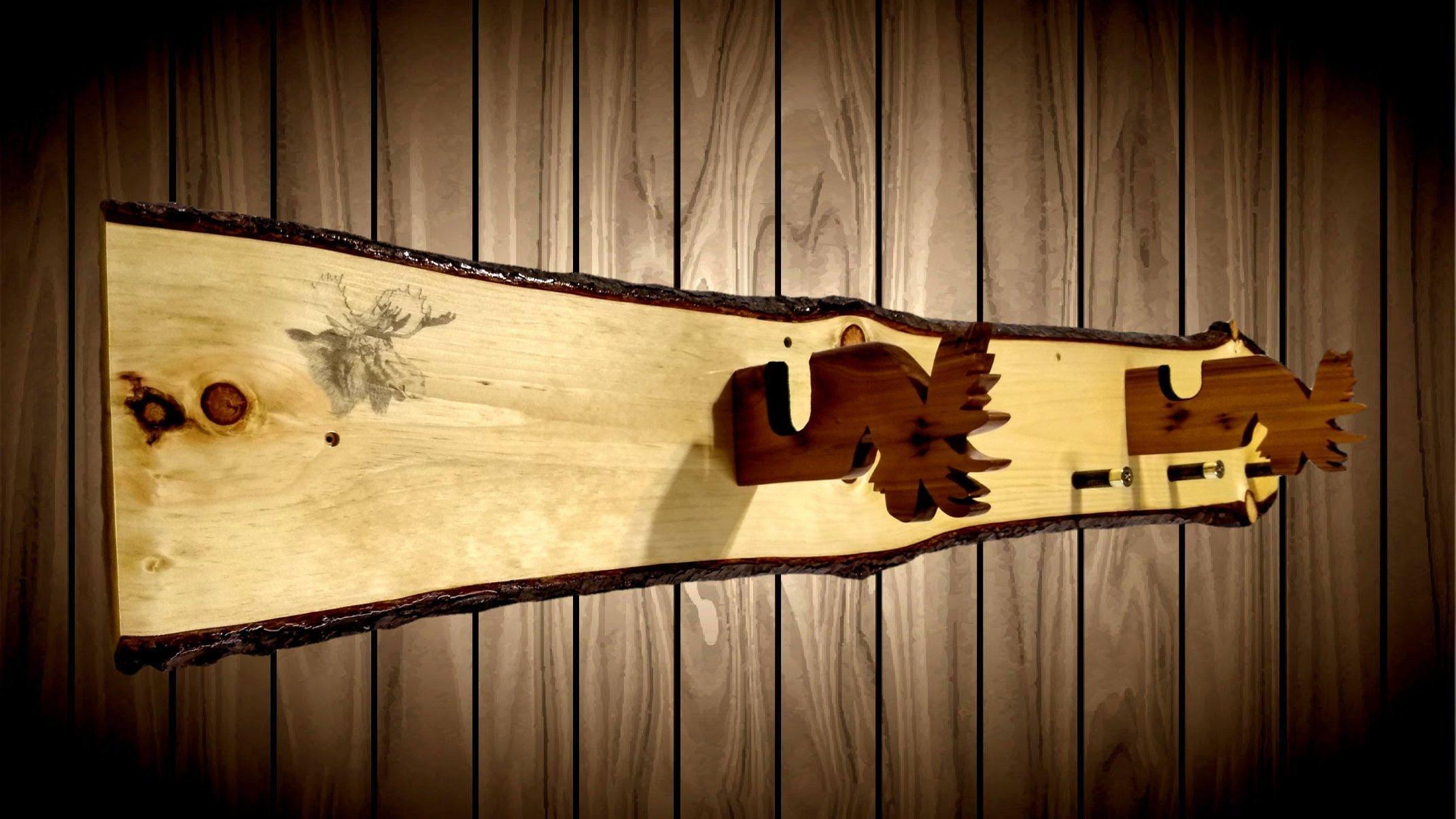 Rustic Knotty Pine Moose Gun Rack Cedar Hangers Shotgun Shell Pegs Rifle  Moose Print Rifle Shotgun Muzzle Loader Home Cabin Decor Gift