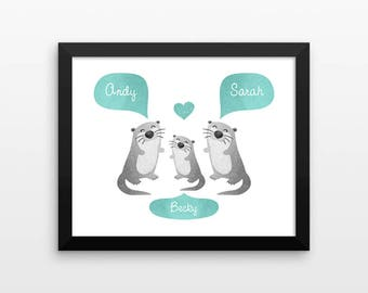 OTTER Nursery Art, Baby Room Decor, Animal Nursery Decor, Personalized Nursery Wall Art, Baby Shower Gift, Nursery Print, Kids Room Decor