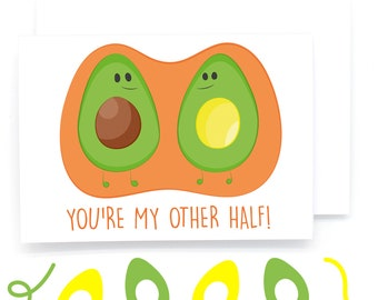You're My Other Half! Avocado Illustration Greetings Card (Love/Anniversary/Marriage/Boyfriend/Girlfriend/Partner/Valentines)