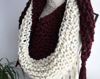 Two toned burgundy and cream Triangle fringed scarf shawl, triangle scarf, triangle scarf, fringe, fringe scarf, triangle fringe scarf