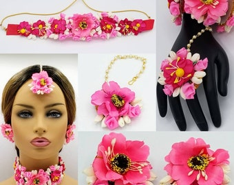 Indian bridal flower jewelry set/Gotta patti/Rose flowers jewelry/Mehandi jewelry/Tikka,necklace,earrings,hath phool jewelry