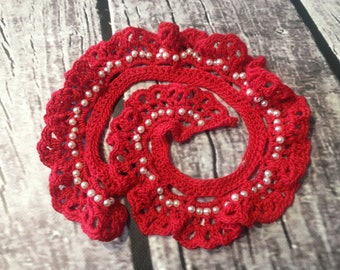 Vintage Style Crocheted Lace Collar in Red Sale