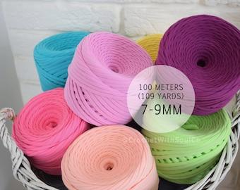 100m T-shirt Yarn, Tshirt Yarn, T shirt Yarn, More than 30 colors, Zpaghetti Yarn, Crochet Bulky Yarn, Fabric Knitting Yarn, Trapillo Yarn