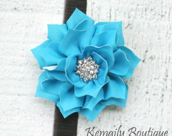 Vintage Turquoise Satin Flower, Fabric Flower, Craft Supplies, DIY Flower, DIY supplies, Embellishment