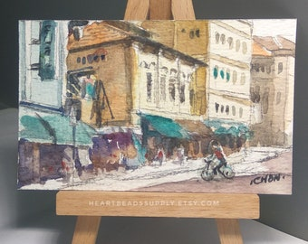 Original Aceo, Bustling Street, cycling, Singapore, old houses, watercolor painting, id180118 miniature art landscape