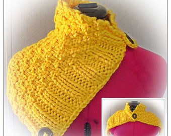 Hand Knit Button Cowl Pittsburgh Yellow Infinity Scarf