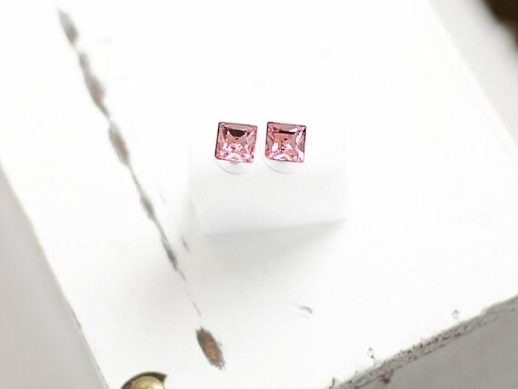 Princess Cut Crystal Earrings | Square Stud Earrings | Pink Minimalist