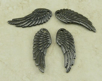 4 TierraCast Angel Fairy Wing Charms > Maleficent Valentine Gothic - Black ox plated Lead Free Pewter - I ship Internationally 2341
