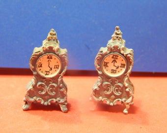 Micro/Miniature Dollhouse Pair of Ornate Clocks