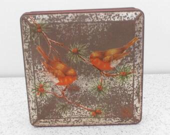 red robins...vintage rustic biscuit tin