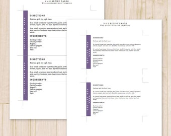 Set of 2 Recipe Cards - 3x5, 4x6 - Modern Printable Recipe Cards, Card Recipe - Recipe Card Template - MS Word *Instant Download*