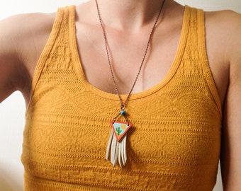 Desert Cactus Fringe Wood Triangle Necklace