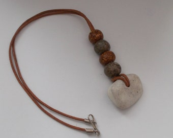 Stone & Leather Necklace.